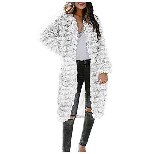 Abrigo sintético cálido para mujer, cuello en V, sólido, largo, abrigos de oficina, para invierno, otoño, abrigos