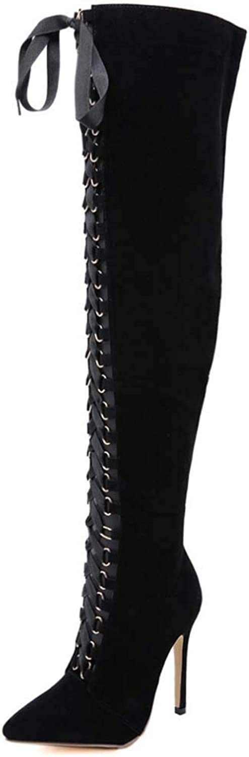 Frauen Knee High Stiefel, Mode High-heeled Pointed Straps Over The Knee Stiefel Hollow Hole Stiefel Fashion Stiefel High Heel