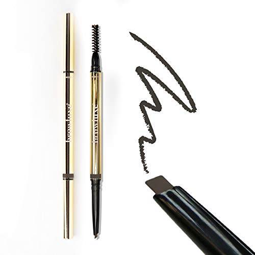 Browluxe Precision Brow Pencil for Microblading Effect   Ash Brown Eyebrow Pencil for Blondes & Brunettes   Light Brown Eyebrow Pencil   Brow Pencil with Brush   Smudge Proof Eyebrow Color