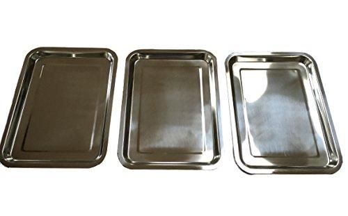 Set di 3 vassoi in acciaio inox, misura a scelta 32x 22o 36x 27o 40x 30cm,impilabili, rettangolari, inacciaio inossidabile lucidato (Confezione da 3)