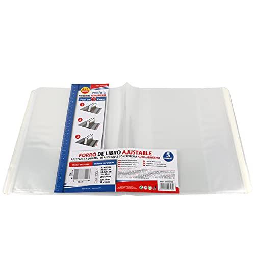 Forro de Libros Autoadhesivo, Ajustable y Transparente - Pack de 10 Forros 30x55 cm