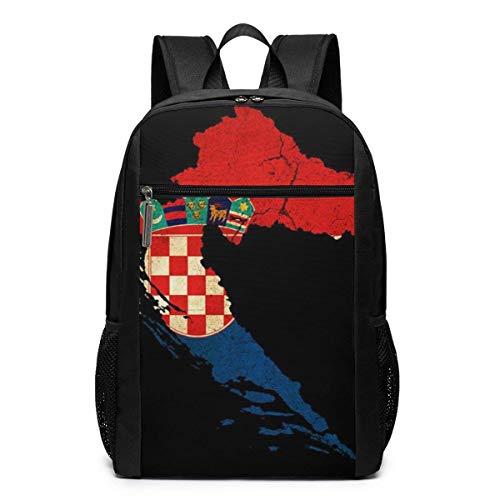 NA Unisex-Rucksack, klassisch, leicht, Polyester, Kuba-Flagge, für Schule, Schule, Schule, Laptop, 43,2 cm Einheitsgröße Kroatien Karte Umriss Flagge