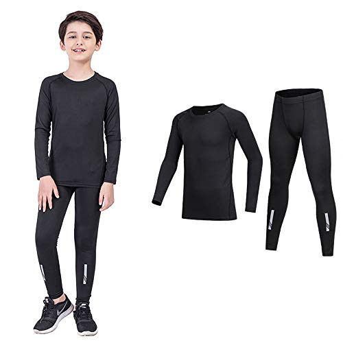 Coralup Kids Compression Sets Sport Base Layer Boys Thermal Underwear Suits Fitness Clothing 2PCS Black 10 11Years