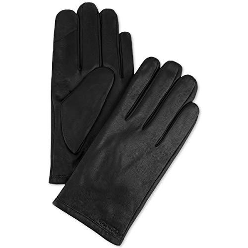 Calvin Klein Mens Fleece Lined Touchscreen Leather Gloves Black XL