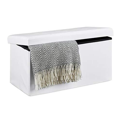 Relaxdays Faltbare Sitzbank XL, mit Stauraum, Sitzcube mit Fußablage, Sitzwürfel als Aufbewahrungsbox, 38x76x38 cm, weiß