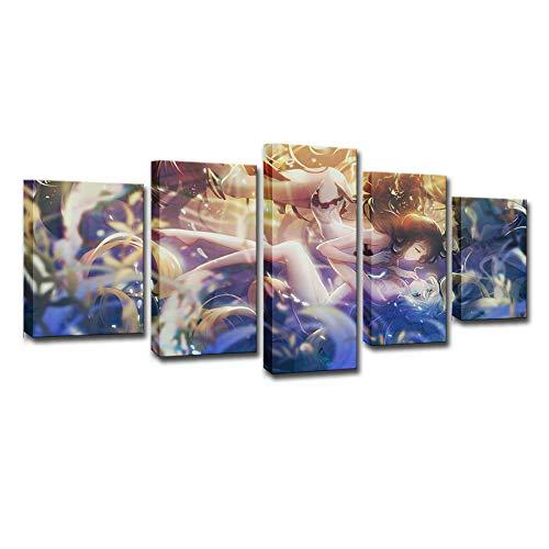 YB 5 Panel muurkunst onderwater mooie fantasie badpak meisjes moderne muurkunst en poster linnen schilderij voor de woonkamer decoratie schilderij 20x30cm 20x40cm 20x50cm Geen lijst
