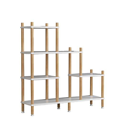 ASDQWER Soporte para plantas nórdicas de varias capas para interiores y suculentas para el hogar, balcón, madera maciza, para sala de estar, macetas, suelo de eneldo, color blanco, color blanco