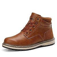 FADVES マーティンブーツ メンズ スノーブーツ スノーシューズ 雪靴 綿靴 ハイカット 革靴 ウィンターブーツ ワークブーツ ハイキングブーツ 裏起毛 防寒 防水 防滑 耐摩耗 アウトドア(24.5cm、ライトブラウン-2)