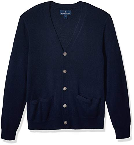 Amazon Brand - Buttoned Down Men's 100% Premium Cashmere Cardigan Sweater, Midnight Navy X-Large