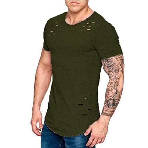 Loch Zerrissene T-Shirts Männer Kurzarm T-Shirt Fitness Sommerkleidung Männer Lustige Feste T-Shirt Streetwear Schlanke Tops T-Shirts, ArmyGreen, XXXL
