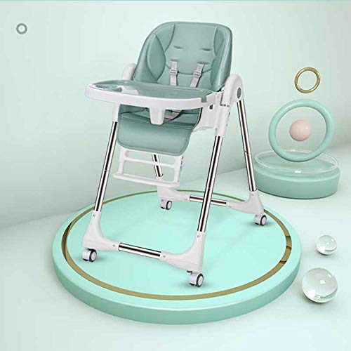 Silla alta para bebé con 4 ruedas, plegable, silla de comedor, altura ajustable, con bandeja doble desmontable y arnés de seguridad para niños pequeños de 6 meses a 6 años (color verde)