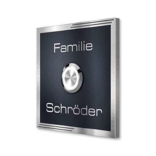 Metzler Design Edelstahl-Türklingel Anthrazit (RAL7016) - pulverbeschichtet - mit LED-Klingeltaster inkl. Gravur des Namens - zur Unterputz-Montage (100x100 mm)