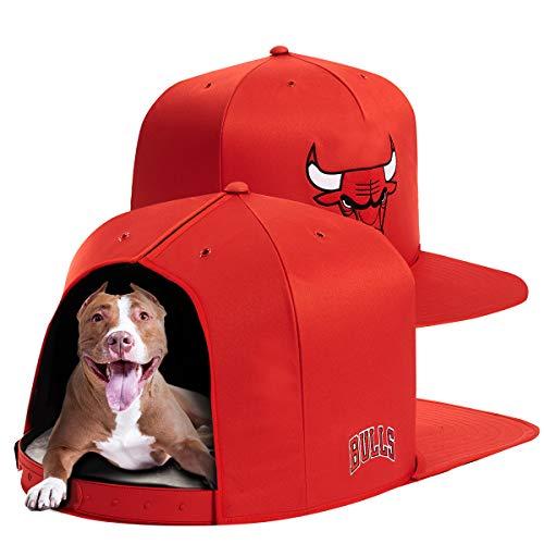 NAP CAP NBA Chicago Bulls Team Branded Indoor Pet Bed, Red (Medium)