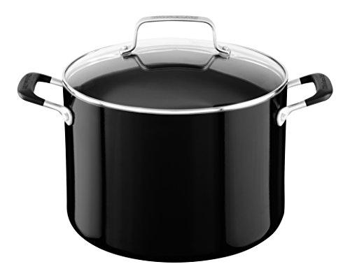 KitchenAid Aluminum Nonstick 8.0 quart Stockpot with Lid - Onyx Black, Medium