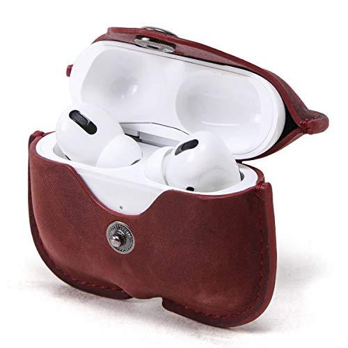 Airpods Pro Lederen Hoes, Gek Paard Lederen Airpods Pro Hoesje voor Mannen en Vrouwen, Hiram Heren Lederen Reiskoffer voor Airpods Pro(Wijn)