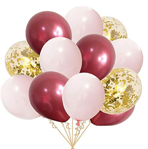 Ohighing 50 Luftballons Burgund Rosa Weiß Ballons Helium Konfetti Ballons für Hochzeit Mädchen Kinder Geburtstag Party Dekoration