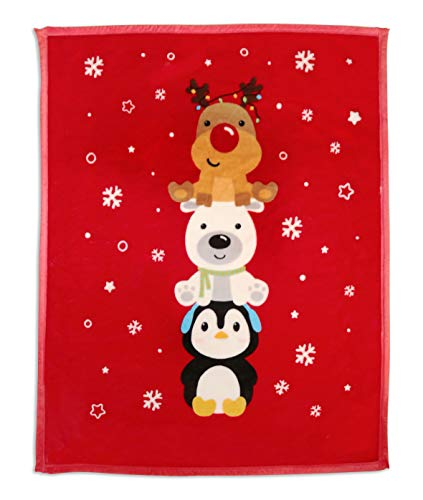 LUSH HOME Kids Double Ply Throw Blanket, Double Sided 40 x 50 inches (X-mas Friends)