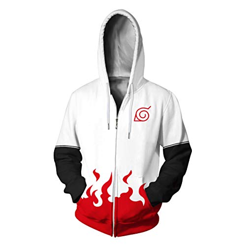 CHENMA Men Naruto Naruto Kakashi Long Sleeve Full-Zip Bomber Jacket Hooded Varsity Jacket (L/US M, White)