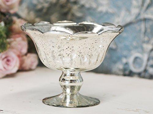 Schale Teller mit Fuß Antiksilber Bauernsilber Chic Antique Aufsatz Shabby French Chic Silber