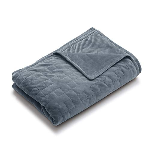 YnM Minky Duvet Cover for Weighted Blankets (Grey Square, 48''x72'')