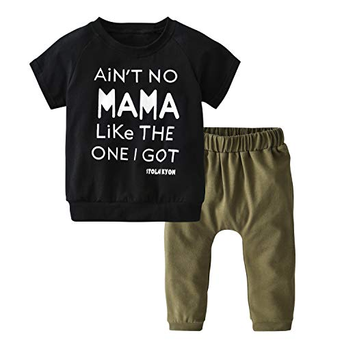 Toddler Baby Boy Short Sleeve Letters Printed T-Shirt Pants Leggings Outfits Clothes Set (0-6 Months)