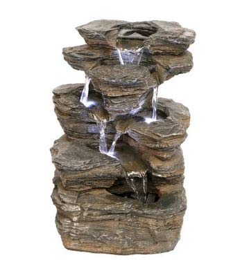 Ark Dcor- Backyard Water Fountains Outdoor - Multicolored Designer Resin Six Tier with LED Lights and Pump - Bring Charm to Your Garden Or Veranda with This Eye-Catching Fountain
