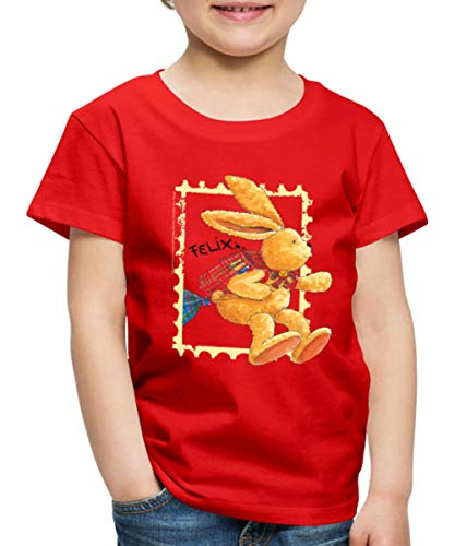 Felix Der Hase Huepft Mit Schulranzen Kinder Premium T-Shirt, 134-140, Rot