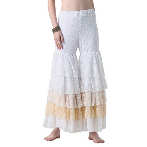 TFF Pantaloni da Prestazione per Pantaloni con Cuciture in Pizzo Ad Acrobazie di Danza Femminile (Color : White, Size : One Size.)