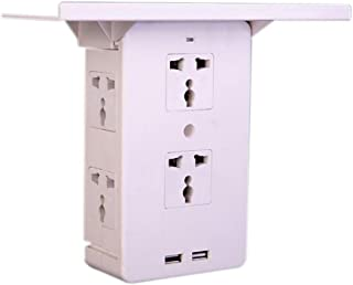 Socket Shelf Outlet with USB Port, 8 Port Surge Protector Wall Outlet Multiple Adapter with Removable Shelf, 6 Electric Outlet Extenders, 2 USB Charging Ports