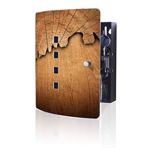 banjado Design Schlüsselkasten aus Edelstahl | 10 Haken für Schlüssel | praktischer Magnetverschluss | 24x21,5cm Motiv Holz