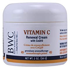 Premium Aromatherapy. Benefits for all skin types. 100% Suitable for Vegans, No Animal Ingredients. Powerful plant humectants replenish vital moisture to smooth and soften your skin BWC vitamin c premium facial renewal cream with CoQ10 moisturizers, ...