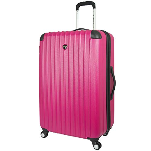 Travelers Club Chicago Hardside Expandable Spinner Luggage, Fuchsia, Checked-Large 28-Inch
