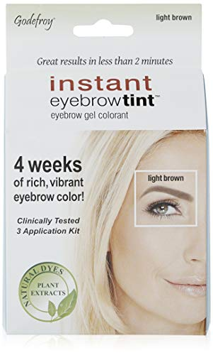 Godefroy Instant Eyebrow Color, Light Brown, 0.18 ounces, 12-weeks of long lasting, 3-applications per kit