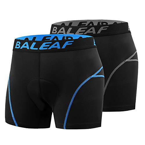 BALEAF 2 Pack Men's Bike Cycling Underwear Shorts 3D Padded Bicycle MTB Liner Shorts, Blue+ Grey, Size S
