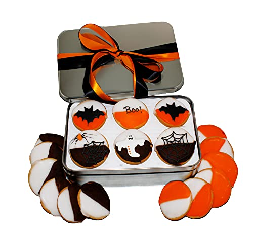 Halloween Cookie Gift Basket, Decorated Colored Black And White Cookies, Gourmet Dessert, Spooky Trick Or Treat Food Gift Box, For Children Kids Boys Girls Adults, 18 Count