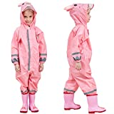 Toddler Rain Suit Baby Rain Suit with Hood Waterproof Coverall One Piece Rain Suit Kids Muddy Buddy(3-10 Years) Pink