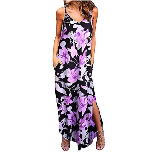 Women Summer Beach Sundress V Neck Sleeveless Sling Dress Floral Graphic Dress Strappy Split Midi Dress with Pocket (Purple, XXL)