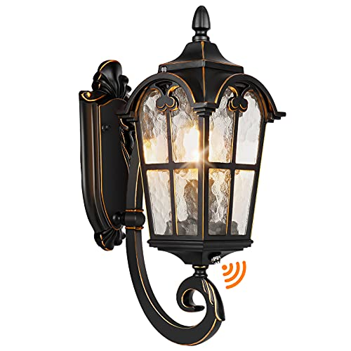 Dusk to Dawn Outdoor Light Fixtures Black Roman, Waterproof Outside Porch Light Wall Sconce Lighting, Exterior Wall Lantern with Water Glass for Garage, Porch, Doorway