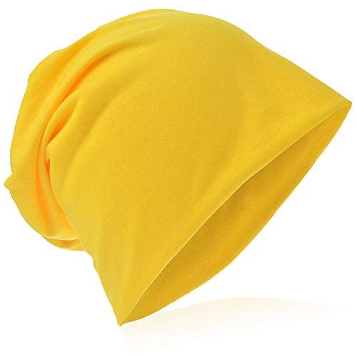 Beanie-Unifarbe-Gelb, one size