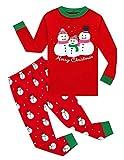Family Feeling Big Boys Long Sleeve Snowman Christmas Red Pajamas Sets 100% Cotton Pyjamas Kids Pjs Size 8