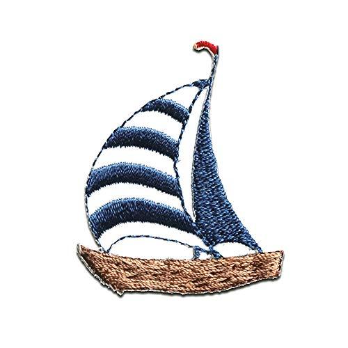 velero barco barco - Parches termoadhesivos bordados aplique para ropa, tamao: 4,9 x 4,1 cm