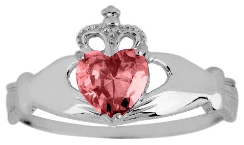 Kleine Schätze - Damen Ring/Verlobungsring/partnerring 10 Karat Weißgold Monatsstein Claddagh Ring Granat