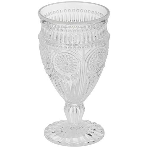 The Pioneer Woman Adeline Embossed 12-Ounce Footed Glass Goblets, Set of 4 (Clear)