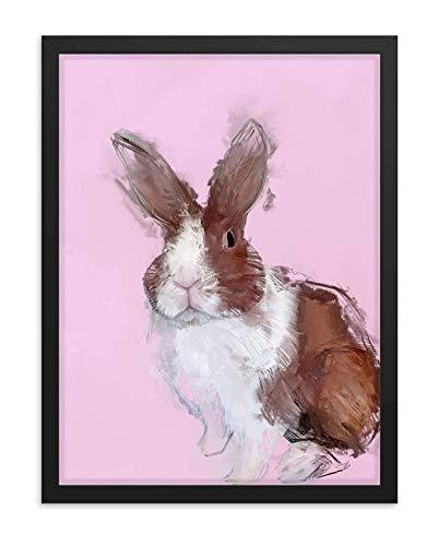 Hilltop Pixel Rabbit Framed Wall Art Print, Pretty Bunnie Painting, Pet Animal Home Decor Gift (18Wx24L, White Frame)