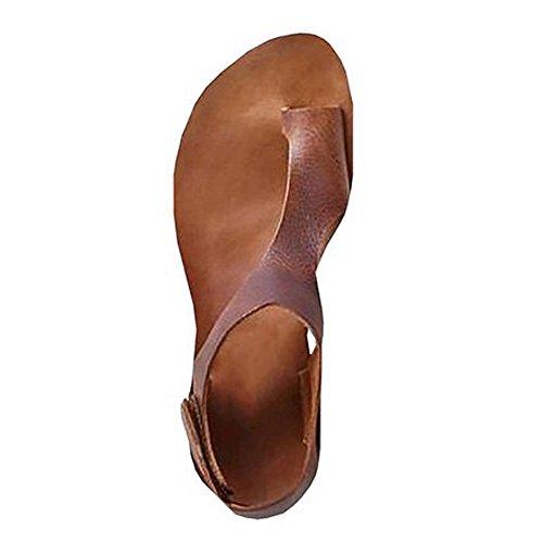 Robemon Sandalen, flach, Damen, Flip-Flops, mit Klettverschluss, offene Spitze, Strand-Sandalen, Retro-Stil, Sommer, römische Schuhe, lässig, flach, Nudeln 40 braun