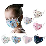 Children's Face Bandanas with Cute Animal Cartoon Patterns Print, Adjustable Washable Reusable for Kids (7PCS)