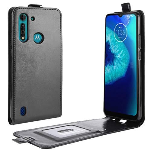 HualuBro Motorola Moto G8 Power Lite Hülle, Premium PU Leder Brieftasche Schutzhülle HandyHülle [Magnetic Closure] Handytasche Flip Hülle Cover für Motorola Moto G8 Power Lite Tasche (Schwarz)