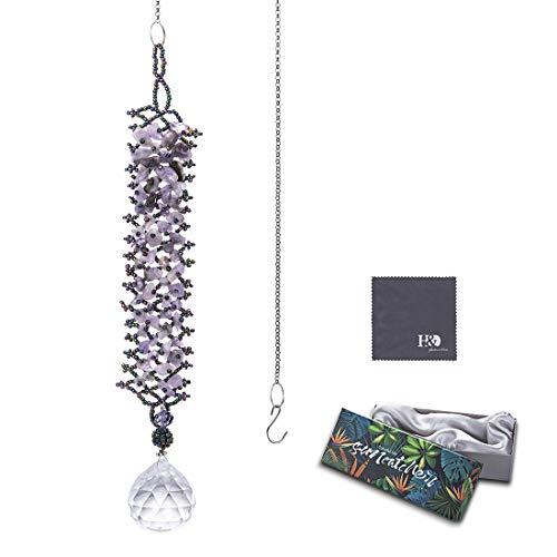 H&D Kristall Regenbogen Sonnenfänger Kaskade Anhänger hängendes Glaskugel Prisma,Violett