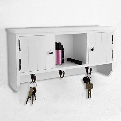 FTVOGUE- Armario de pared con puertas y 3 ganchos, 40 x 8,5 x 20 cm, color blanco