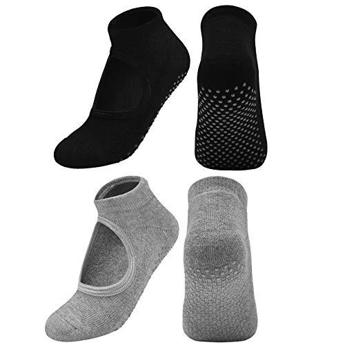 Chstarina 2 Pares Calcetines de Yoga Pilates Calcetines Antideslizantes para Mujer Calcetines...